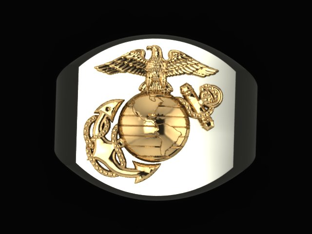 Large two tone Marine Corps rings